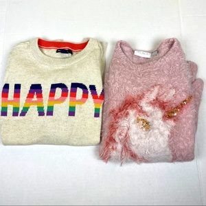 3/$18 Lot of 2 girls sweater top size L 12 youth